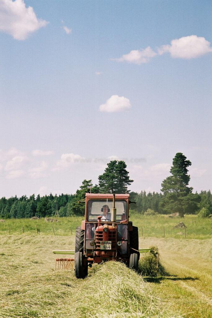 JE0104_16, Höskörd Sörmland sommaren 2001. Strängläggning med Volvo BM och Claas strängläggare, Jonas Engström