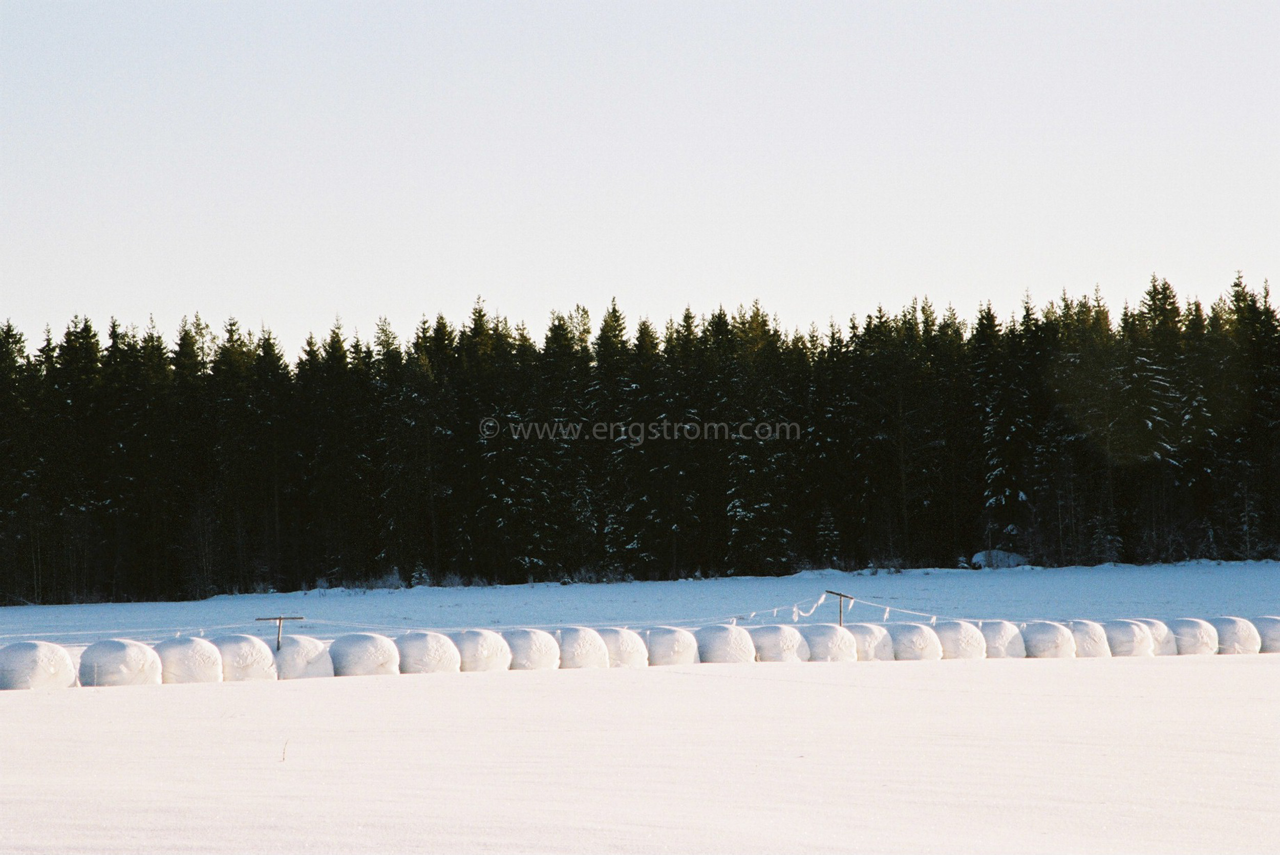 JE0400_054, Ensilagebalar på vintern. Hälsingland vintern 2004, Jonas Engström