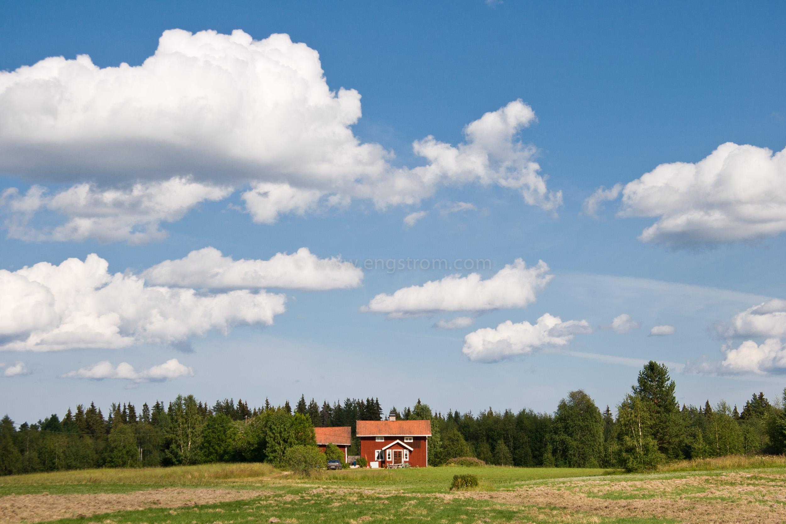 JE_11742, En liten stuga i skogskanten med åkerlappar framför, Jonas Engström
