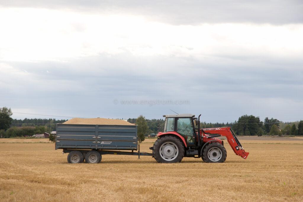 JE_20791, Traktor med spannmålsvagn på tröskad åker, Jonas Engström